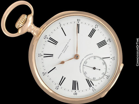 1910 Patek Philippe Chronometro Gondolo Vintage / Antique Mens 51mm Pocket Watch - 18K Rose Gold