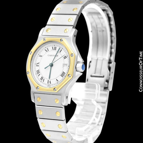 Cartier Santos Octagon Mens Midsize Unisex Quartz Stainless Steel & 18K Gold Watch - Papers & Boxes