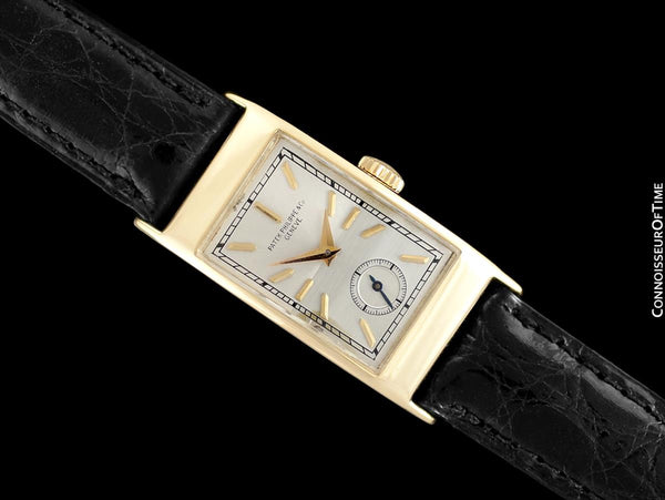 "1939 Patek Philippe ""Tegolino"" Vintage Mens Rectangular Watch - 18K Gold"