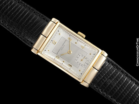 1930's Vacheron & Constantin Mens Vintage Rectangular Watch with Hooded Lugs - 14K Gold
