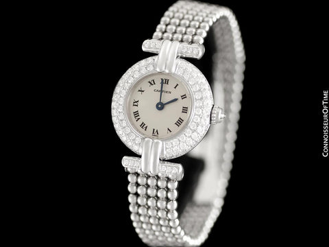 Cartier Colisee (Rivoli) Ladies Bracelet Watch - 18K White Gold & Cartier Factory Set Diamonds