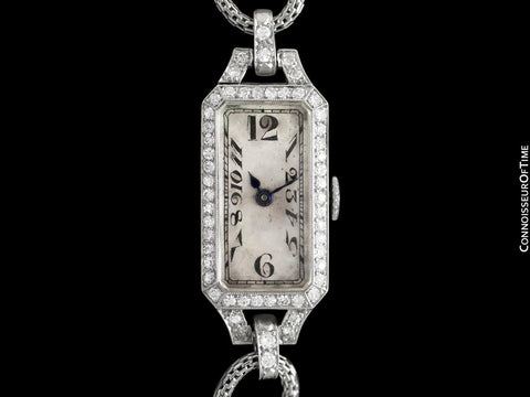1922 Patek Philippe Likely for Tiffany Vintage Art Nouveau Ladies Watch with Papers - Platinum & Diamonds