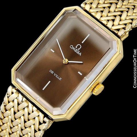 "1973 Omega De Ville Mens ""Emerald"" Modern Watch with Brown Bronze Dial By Andrew Grima - 18K Gold Plated & Stainless Steel"