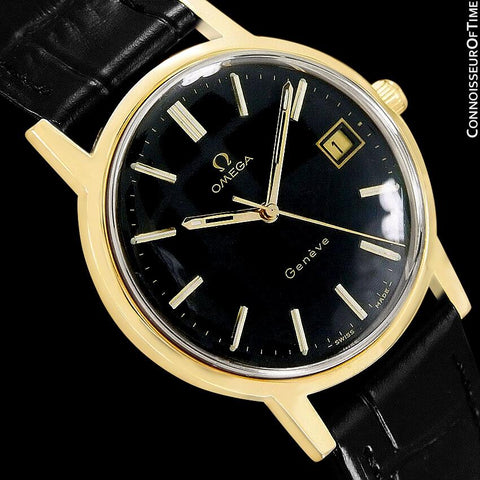 1973 Omega Geneve Vintage Mens Waterproof Style Watch - 18K Gold Plated & Stainless Steel