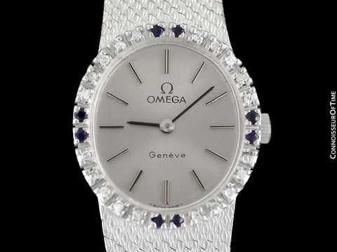 1973 Omega Geneve Vintage Ladies Handwound Watch - Stainless Steel, Diamonds & Sapphires