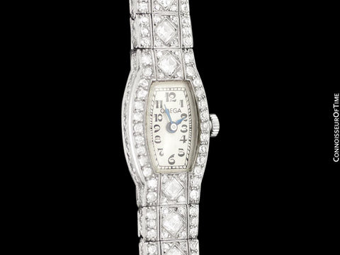 1927 Omega Rare Art Deco Vintage Ladies Watch - Platinum with 1.5 Carats of Diamonds