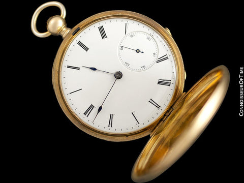 1870's Patek Philippe Antique Mens Midsize 50mm Hunter Case Pocket Watch - 18K Gold