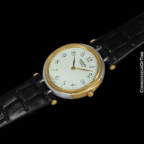 Hermes Windsor Mens Midsize Unisex Watch - Stainless Steel & 18K Gold Plated