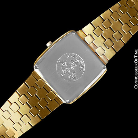 1980's Omega Seamaster Vintage Mens Midsize Retro Quartz Watch - 18K Gold Plated & Stainless Steel