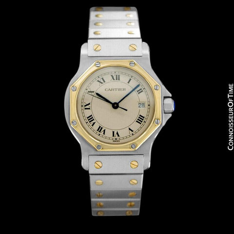Cartier Santos Octagon Mens (Midsize) Quartz Watch - Stainless Steel & 18K Gold