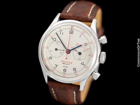 1940's Gallet Multichron Yachting Vintage Mens Large Size Chronograph - Stainless Steel