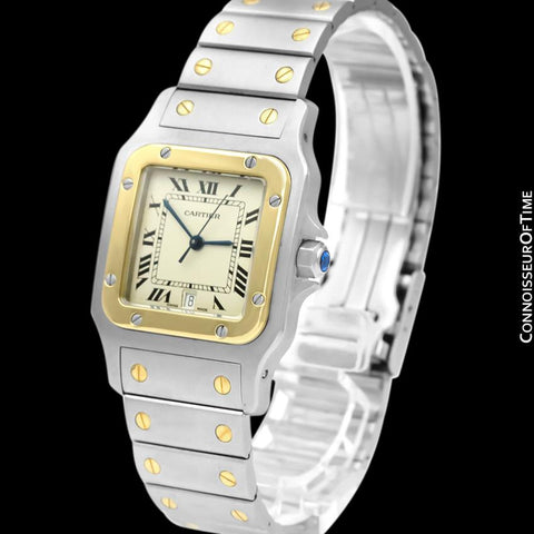 Cartier Santos Galbee Mens Two-Tone Bracelet Stainless Steel & 18K Gold Watch - Box & Papers