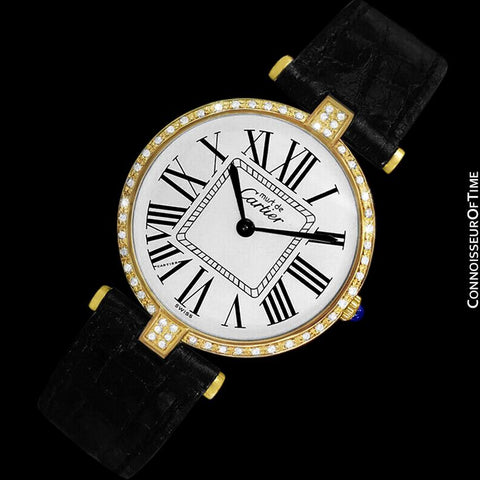 Must De Cartier Vendome Mens Midsize Unisex Vermeil Watch - 18K Gold Over Sterling Silver & Diamonds