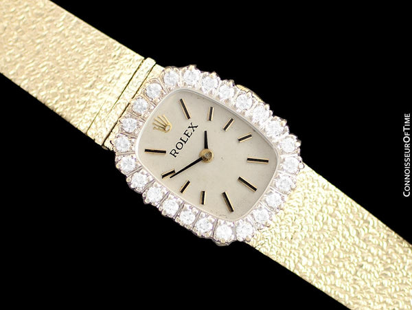 1970's Rolex Vintage Ladies Dress Watch - 14K Gold & Diamonds