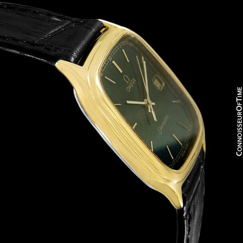 1986 Omega Semaster Brest Vintage Mens Retro Quartz Watch - 18K Gold Plated & Stainless Steel