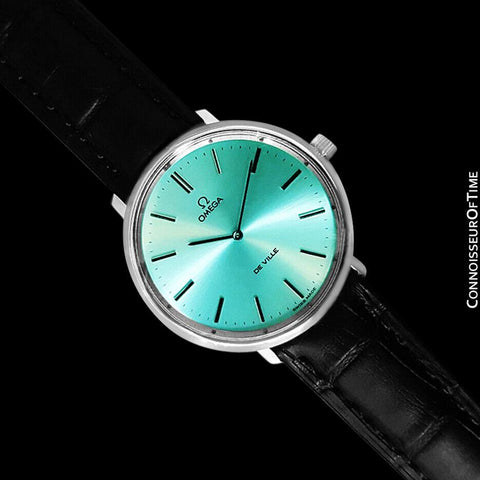 1970's Omega De Ville Vintage Mens Handwound Watch with TIffany Blue Dial - Stainless Steel