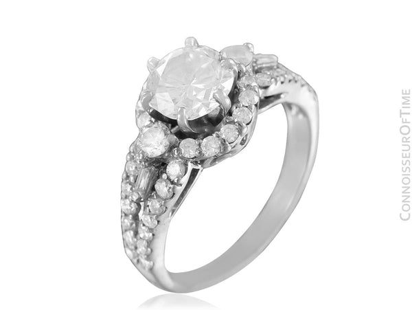 18K White Gold & Natural Diamond Halo Engagement Wedding Ring, 1.74 CT TDW - $11,000 Appraisal