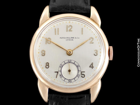 1940's Patek Philippe Vintage Art Deco Mens Watch with Period Case - 14K Rose Gold