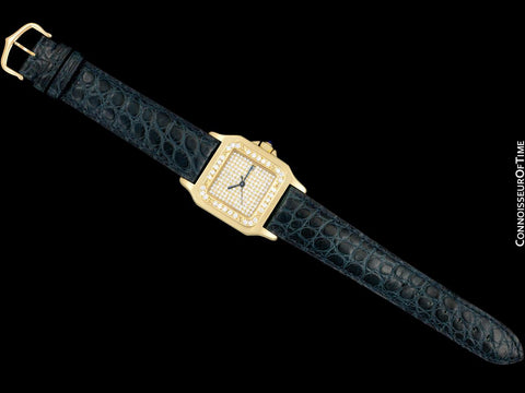 Cartier Santos Mens Automatic Watch - 18K Gold & Diamonds