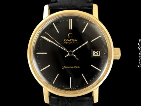 1975 Omega Vintage Seamaster Mens Watch, Automatic, Date - 18K Gold Plated & Stainless Steel