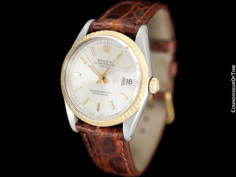 1987 Rolex Date (Datejust) Vintage Mens Two-Tone Quick-Setting Watch with Silver Dial - Stainless Steel & 18K Gold