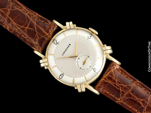 1948 Longines Vintage Mens Midsize Watch with Knot Lugs - 14K Gold