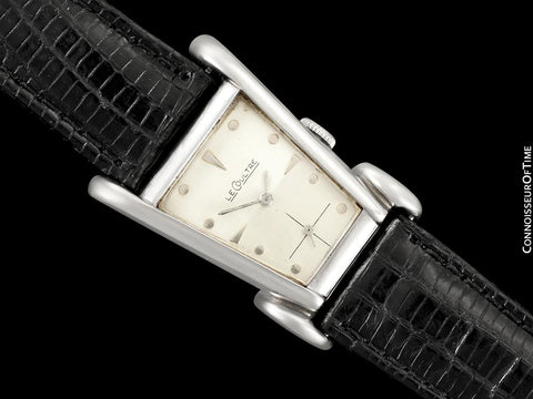 1949 LeCoultre Vintage Mens Watch, Rare White 10K Gold Filled, Grasshopper - The Aristocrat