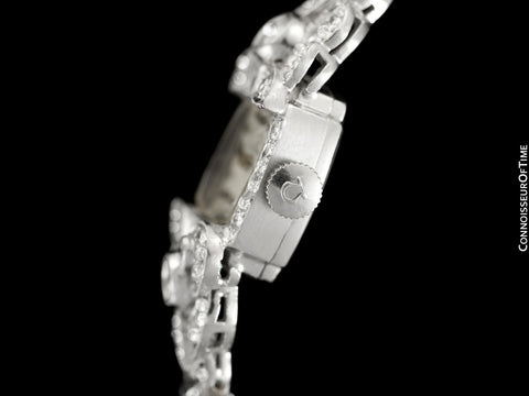 1950's Vintage Ladies Watch with Omega Movement - Platinum, over 3.5 Carats of Diamonds