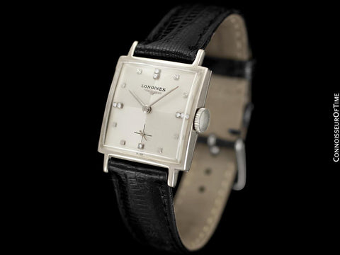 1957 Longines Mens Vintage Dress Watch - 14K White Gold & Diamonds