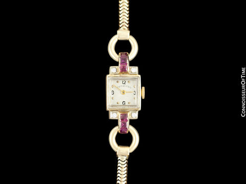 1940's Tiffany & Co. Ladies Vintage Watch - 14K Rose Gold with Diamonds & Rubies
