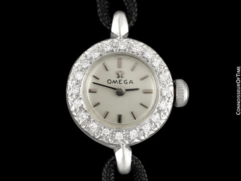 1967 Omega Vintage Ladies Watch - 14K White Gold & Diamonds
