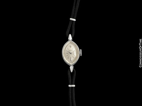 1960's Rolex Vintage Ladies Dress Watch, Silver Dial - 14K White Gold