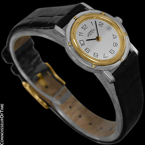 Hermes Clipper Ladies Quartz Watch - Stainless Steel & 18K Gold Plated