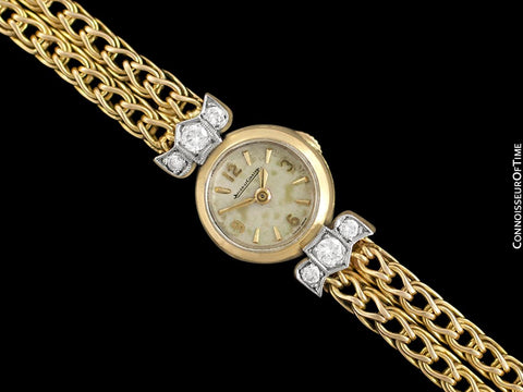1950's Jaeger-LeCoultre Vintage Ladies Backwind Cocktail Watch - 18K Gold & Diamonds