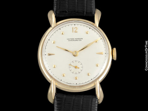 1950's Ulysse Nardin Vintage Chronometer Mens Midsize Dress Watch, Beautiful Case - 14K Gold