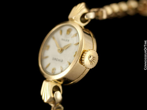 c. 1957 Rolex Orchid Ladies Vintage Watch, 18K Gold - Rare & Beautiful Crown Design