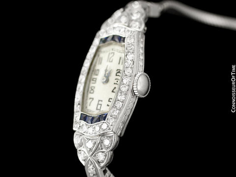 1920's Audemars Piguet Rare & Exquisite Art Deco Ladies Watch - Platinum, Diamonds & Sapphires