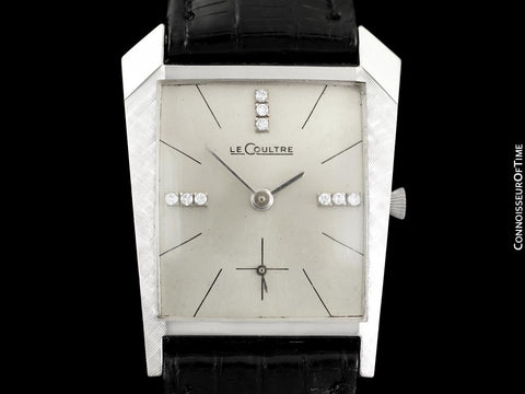 1962 Jaeger-LeCoultre Vintage Mens Asymmetrical Watch - 14K White Gold & Diamonds