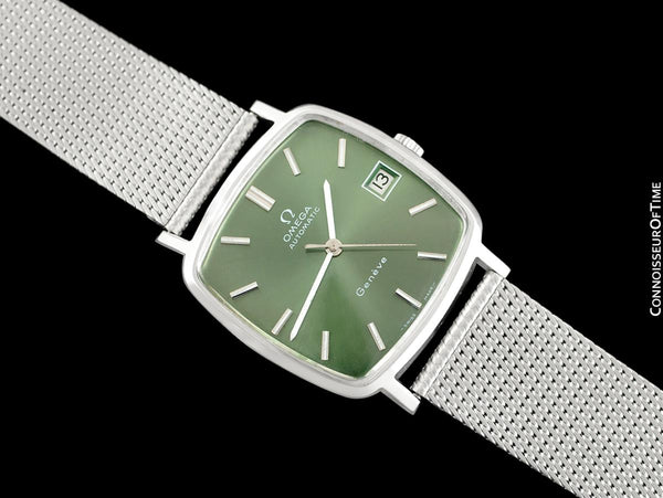 1974 Omega Geneve Vintage Mens Midsize Watch with Emerald / Money Green Dial - Stainless Steel
