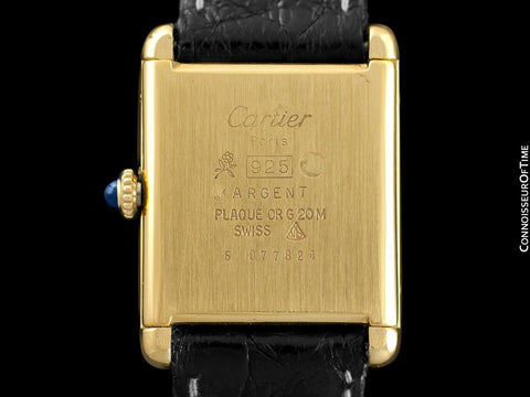 Cartier Vintage Mens Tank Mechanical Watch - Gold Vermeil, 18K Gold over Sterling Silver - Box & Papers