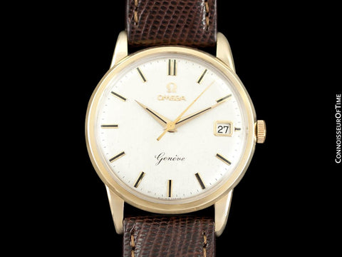 1961 Omega Geneve Vintage Mens Dress Watch with Date - 9K Gold