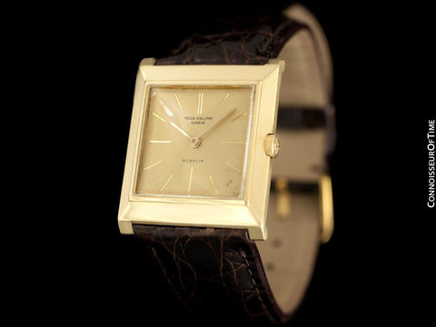 1950's Patek Philippe for Gubelin Vintage Mens Handwound Square Watch, Ref. 3404 - 18K Gold