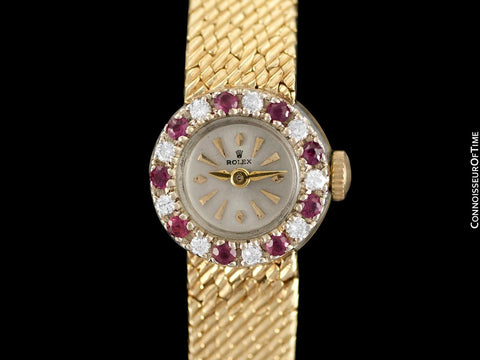 1970's Rolex Vintage Ladies Dress Bracelet Watch - 14K Gold, Diamonds & Rubies