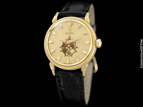 1956 Omega Seamaster Olympic XVI Mens Vintage 18K Gold Watch - Very Rare Cross of Merit Dial