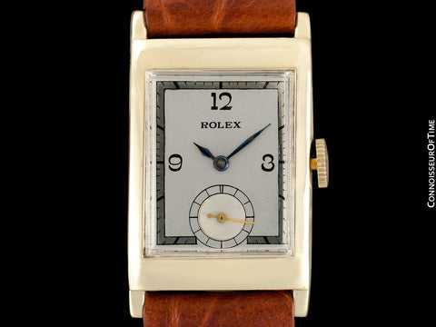 "1932 Rolex Art Deco Mens ""Prince Elegante"" Watch - Solid 9K Gold"