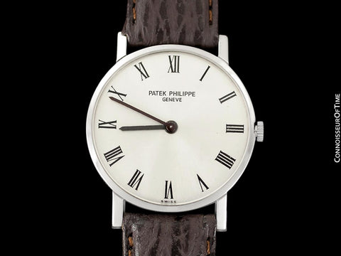 "1965 Patek Philippe Vintage Mens Midsize ""Ultra Thin"" Wristwatch, Ref. 3470 - 18K White Gold"