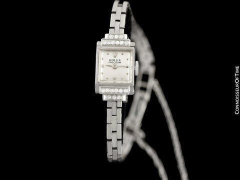 1940's Rolex Ladies Vintage Cocktail Watch - 18K White Gold & Diamonds