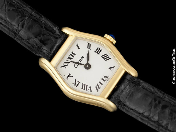 Cartier Vintage Ladies Tortue Tortoise Mechanical Watch - Solid 18K Gold with Deployment Buckle
