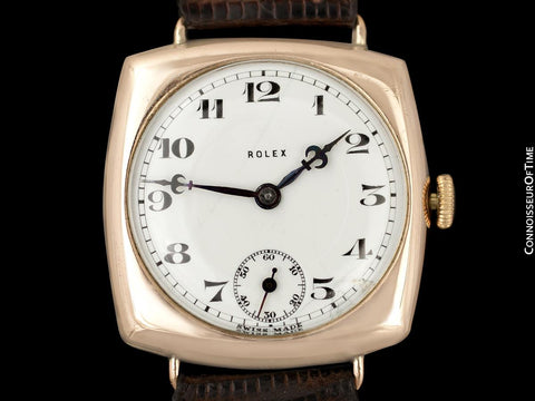 1927 Rolex Art Deco Vintage Mens Officer's Style Watch - 9K Gold