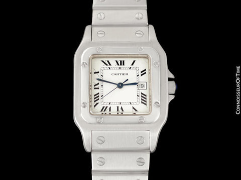 Cartier Santos Automatique Mens Size with Ladies Length Bracelet Unisex Watch - Stainless Steel
